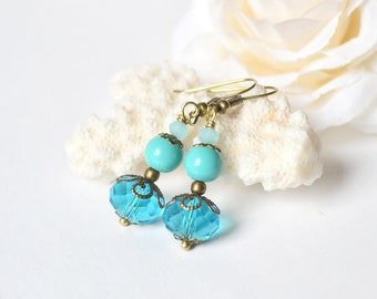 Turquoise blue crystal earrings blue bridesmaid earrings dangle earrings beach wedding vintage drop bridesmaid earring set of 3 4 5 6 7 8 9
