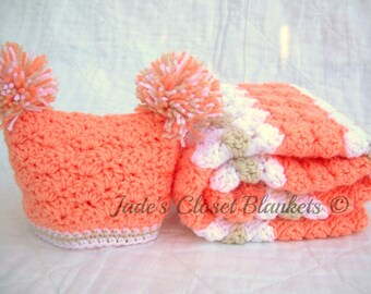 Baby Girl Gift Set, Crochet Peach Baby Travel Blanket and Hat Gift Set, Peaches and Cream, peach, white, and off white