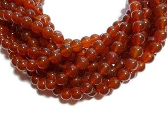 Carnelian - 8mm Round Bead - Full Strand - 48 beads - Red Agate - Rust - Orange
