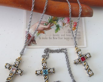 Vintage Rhinestone  Silver And Gold  Cross With Chain