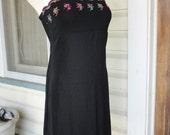 1990s Black Sundress Embroidered Details Little Black Dress