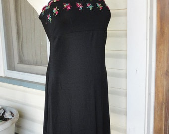 1990s Black Sundress Embroidered Details Little Black Dress