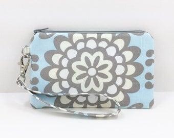Cell Phone Wristlet, Small Clutch Purse Padded, Zipper Pouch, Lotus Flower, Pale Blue, Wristlet Wallet, Gift idea