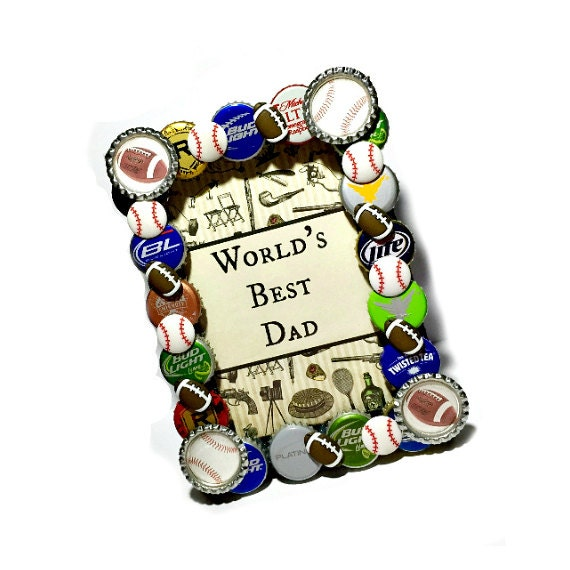 Fathers day frame beer bottle cap frame by for Beer bottle picture frame