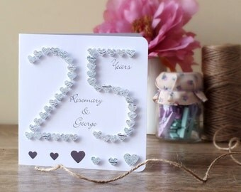 25th Wedding Anniversary Party Ideas For Parents In India : wedding anniversary card 25th anniversary card 25 silver wedding ...