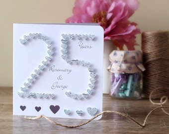 25th Wedding Anniversary Gifts For Parents Uk : wedding anniversary card 25th anniversary card 25 silver wedding ...