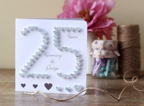 Handmade 3D Silver Wedding Anniversary Card 25th