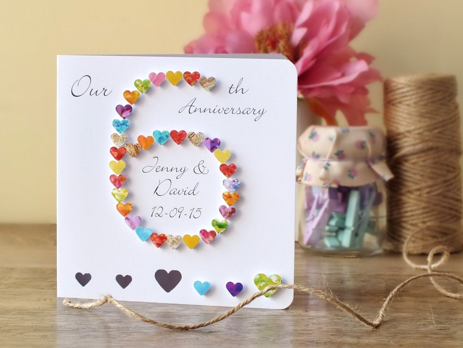 24th Wedding Anniversary Gift Ideas: Handmade 3D 6th Wedding Anniversary Card Personalised Sixth