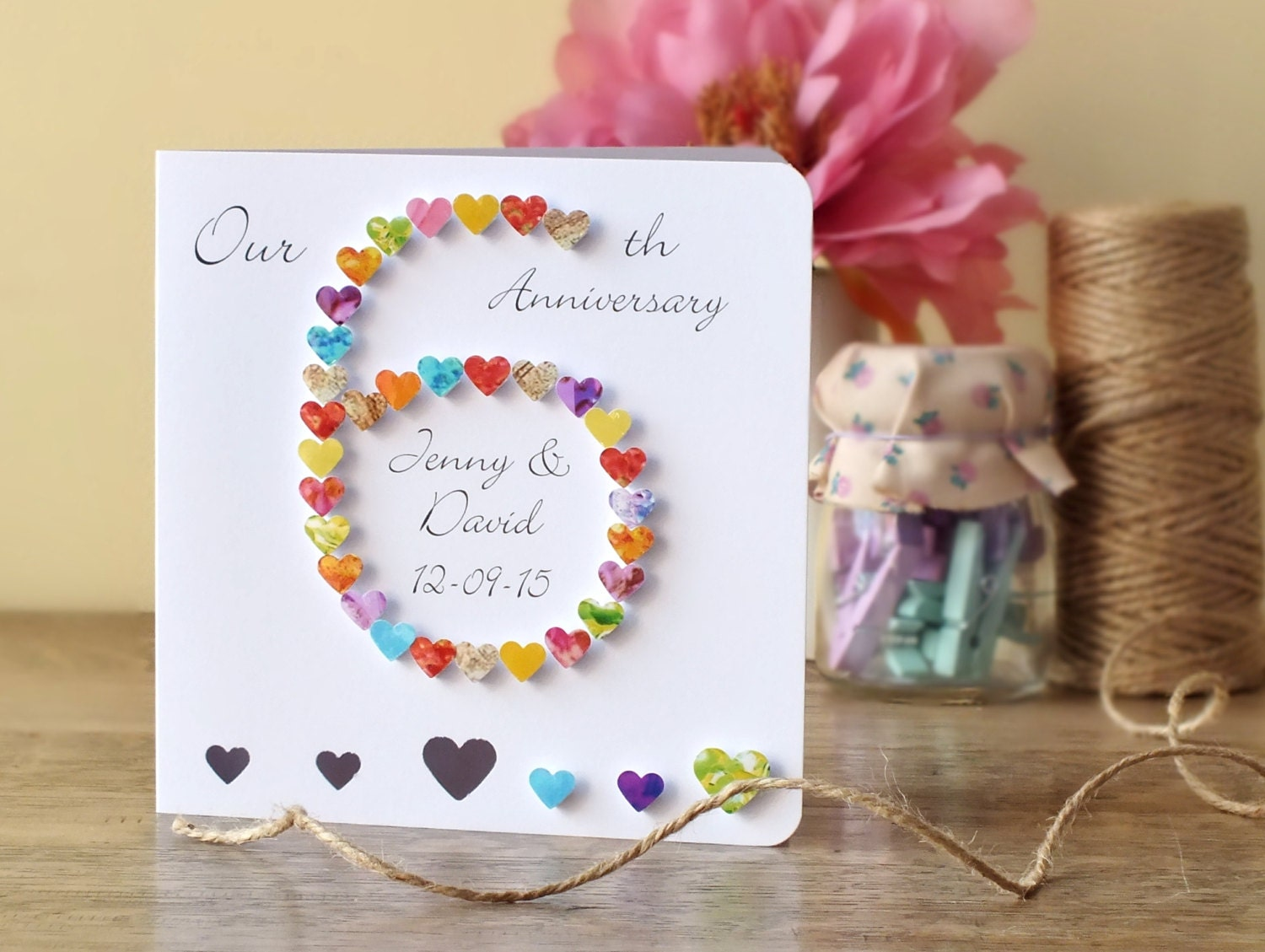 Wedding Anniversary Gifts 6 Years: Handmade 3D 6th Wedding Anniversary Card Personalised Sixth