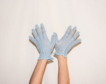 Vintage 1960s Blue Crochet Gloves