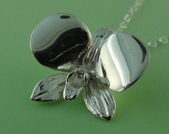 Sterling Silver Orchid Pendant, Dendrobium Orchid Necklace, Orchid Necklace, Wedding Jewelry