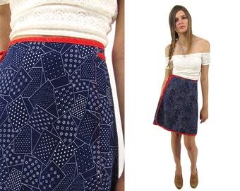 Vintage 70s Wrap Denim Skirt, Abstract Skirt, Jean Skirt, Mini, Boho Denim Skirt, A-line Skirt Δ fits sizes: xxs / xs / sm