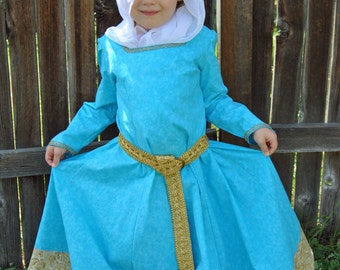 My Fairy Tale: Merida's Formal Gown, Wimple, Headring and Belt - Sizes 2T, 3T, 4T, 5, 6, 7, 8 and 10