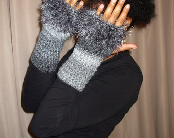 Hand Crochet Wrist Warmers, Fingerless Gloves with Fur, Crochet Armwarmers, Fuzzy Gloves,