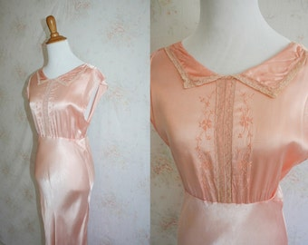 Vintage 30s Nightgown, 1930s Satin Lingerie, Lace, Bias Cut, Bridal, Hollywood