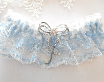 Vintage Chantilly Lace Blue Floral Off White Lace Choose the Setting Bridal Garter Set Lovely