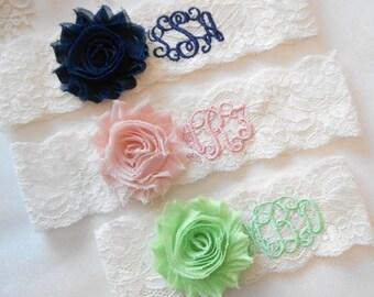 MONOGRAMMED Wedding Garter Set or Single 15 Shabby Rose Colors Garter Vintage Inspired Floral Stretch Lace Bridal Garter Set