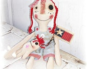 HANDMADE Primitive Doll Folk Art Raggedy Annie Dolls Flag Stick FosterChild Whimsy TOSCOFG