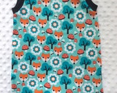Fox Print Rompers - Summer Tank and Shorts in one- 12 month size - Cotton Lycra Blend Knits