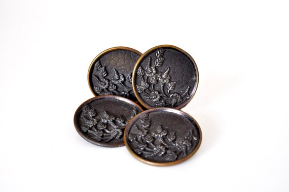 Large Victorian Brass Buttons Set of 4