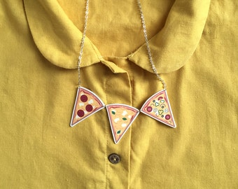 Cute Illustrated Pizza Slice Bunting Necklace