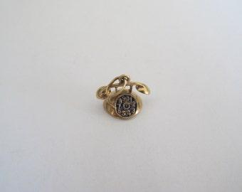 Vintage 14k Gold Mini Enameled Telephone Charm Pendant