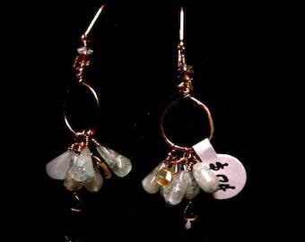 Earrings S Aquamarine and Smoky Quartz fish hoooks