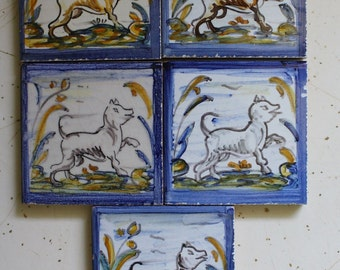 5 small tiles, dog tiles, hand painted in Spain