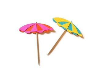 Beach umbrella cupcake toppers or party picks - choose your quantity & colors