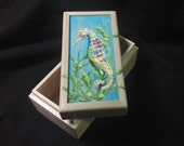 Rainbow Seahorse hand painted small box