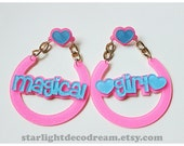LARGE Blue and Pink MAGICAL GIRL Dreamy Hoops Glitter Acrylic Charm Earrings for Mahou Kei & Magical Girl Lovers