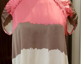 BCBG MAXAZRIA Pink Multi Color Silk Shirt