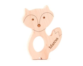 personalized fox wood TEETHER - a natural wooden teething toy for boy or girl, woodland-themed shower gift, an eco-friendly heirloom gift