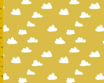 Fitted Crib Sheet Mustard Clouds- Mustard Crib Sheet- Cloud Crib Sheet- Crib Bedding- Baby Bedding- Organic Crib Sheet- Mustard Baby Bedding