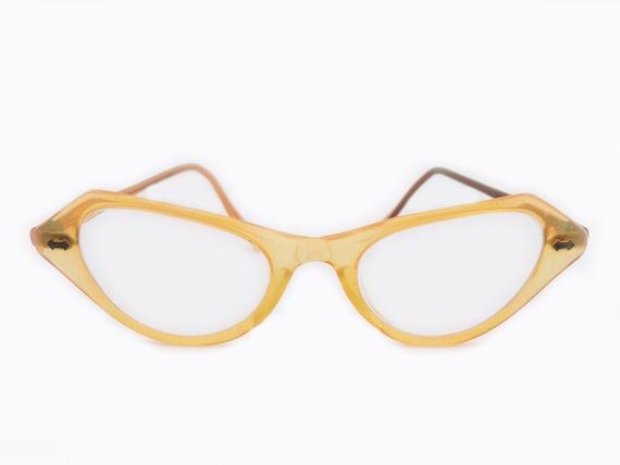 Vintage 1950's Fantasie Eyeglasses Amber Yellow Color