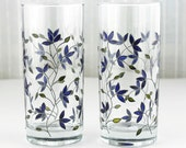 Hand Painted Glasses, Tumblers, Water Glasses,  Drinking Glasses,  Set of 2,  Blue Tulips Design, Everyday Water Glasses