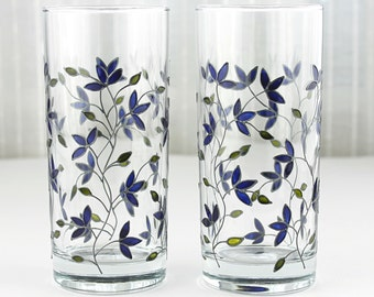 Hand Painted Glasses, Blue Tulips Design, Floral Tumblers, Water Glasses,  Drinking Glasses,  Set of 2,  Everyday Glasses