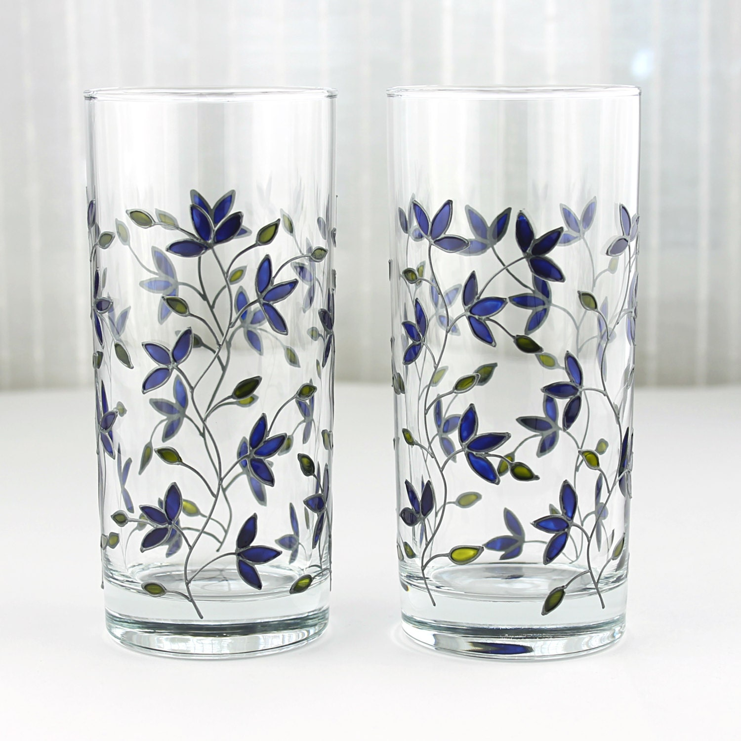 Hand painted glasses blue tulips design floral tumblers Unusual drinking glasses uk