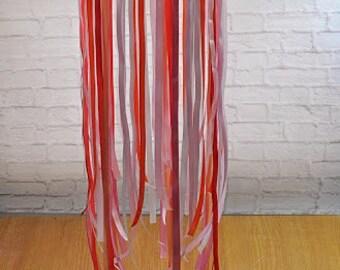 Ribbon Chandelier Coral Pink White Ribbon Mobile