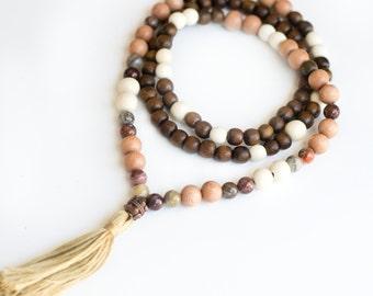 Wood and Jasper Mala Beads, Yoga Mala, 108 Mala Beads, Boho necklace, Tassel Necklace, Meditation Tool, Japa Mala,
