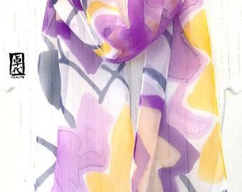 Silk scarf Handpainted, Summer Scarves, Gift for her, Abstract Purple and Yellow Star Flowers Scarf, Silk Scarves Takuyo, 7.5x52 inches.