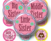 1 Inch Circles, Big, Middle, Little Sister, Bottle Cap Images, 2 Digital Collage Sheets (1) INSTANT DOWNLOAD