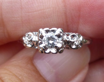 1950's  engagment ring....15 point total  diamond weight.....VERY BRIGHT Daimond....in 14KT white  gold