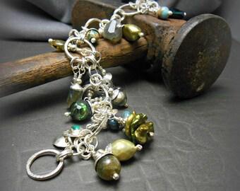 Handmade Sterling Silver Charm Bracelet with Semi Precious Stone Bead Charms