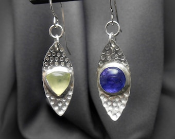 Textured Sterling Silver Leaf Earrings with Mismatched Stones Tanzanite and Prehnite