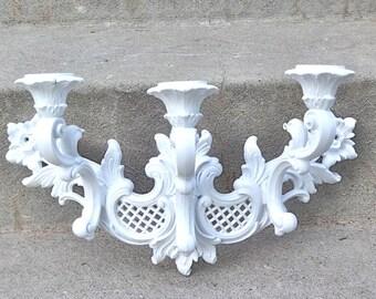 Gorgeous White ORNATE Vintage Wall Candelabra Wedding Nursery Victorian