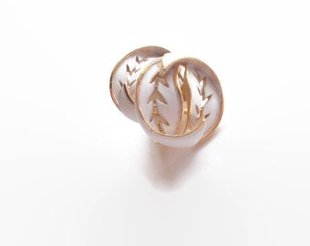 Crown Trifari Earrings Leaves White Gold Enameled 1950s  Wedding Suit Sophisticated Bridal