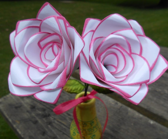 Pink & White Paper Roses Set of TWO. Mother's Day, Anniversary Gift, Wedding Decor. CUSTOM ORDERS Welcome
