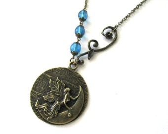 Moon goddess necklace fairy jewelry blue beads with twig antique brass bronze, blue goddess charm, long chain necklace