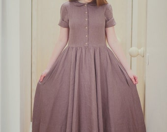 Purple Linen Dress,  Women Fashion, Hand Made dress,  Loose Dress, Women clothing, Maxi dress